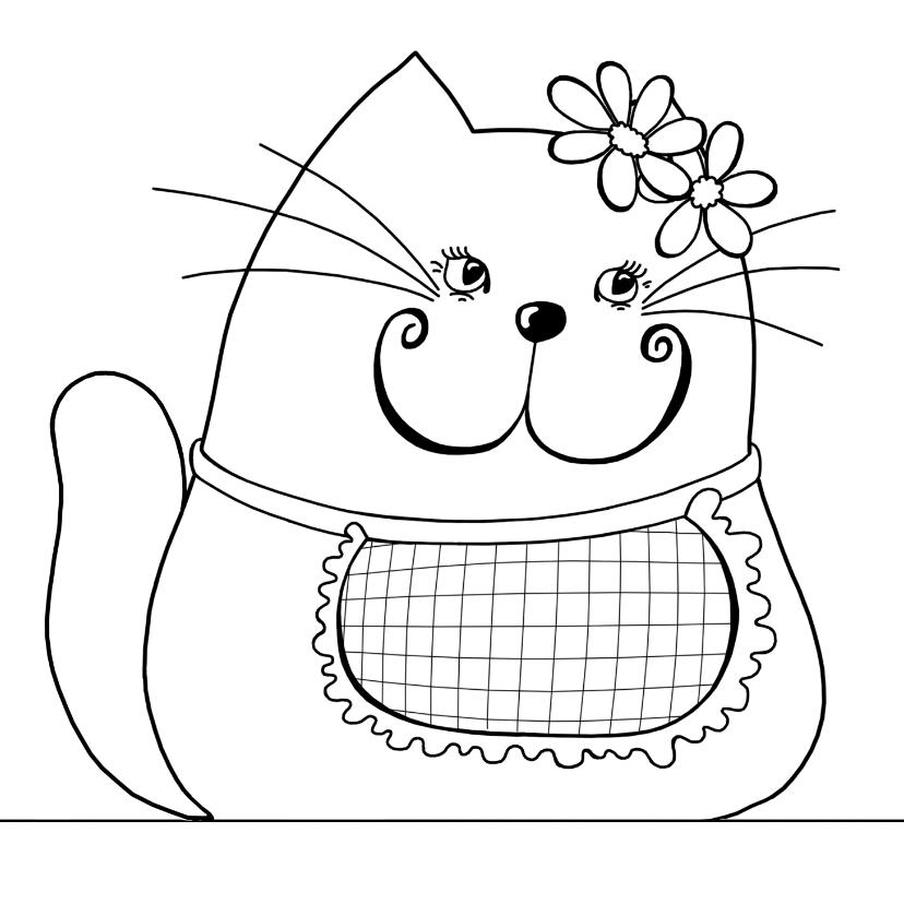 Kleurplaat kaart kat bloem 2