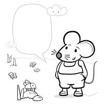 Kleurplaat kaart met muis