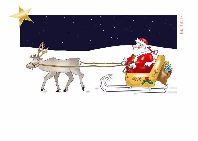 Kleurplaat - kerstman op slee 2