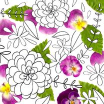Kleurplaat met viooltjes