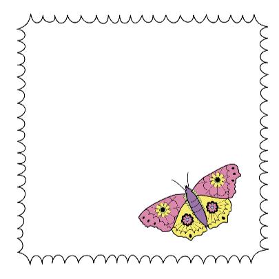 Kleurplaat-Vlinder Bloemetjes-HK 3