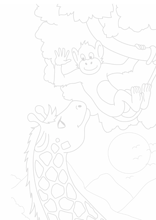 Kleurplaatkaart Aap en Giraffe - MT 3