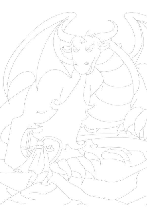 kleurplaatkaart De boze draak 3