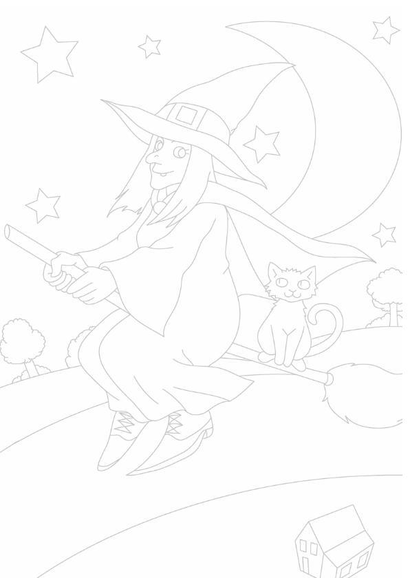 kleurplaatkaart de vliegende heks 3
