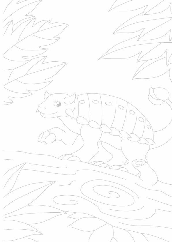 kleurplaatkaart Kleine dino 3