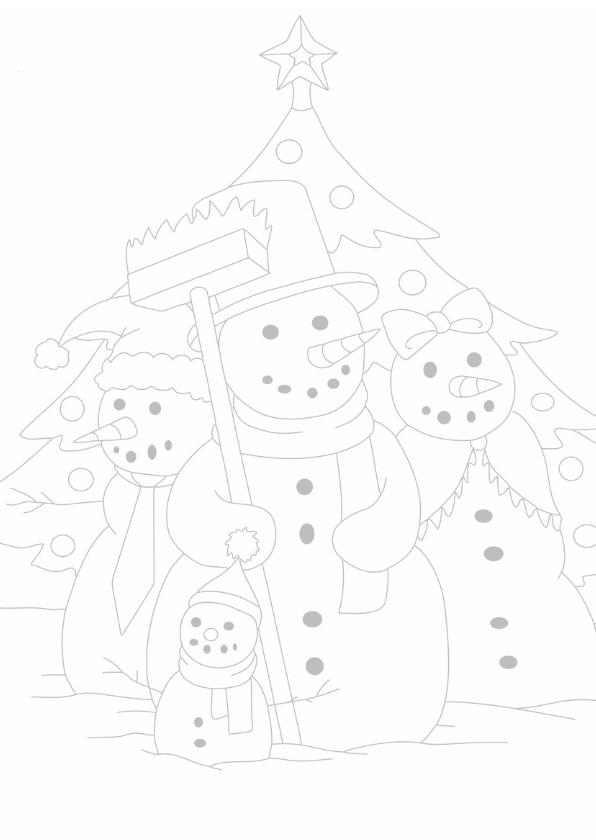kleurplaatkaart sneeuwpop famillie- MT 3