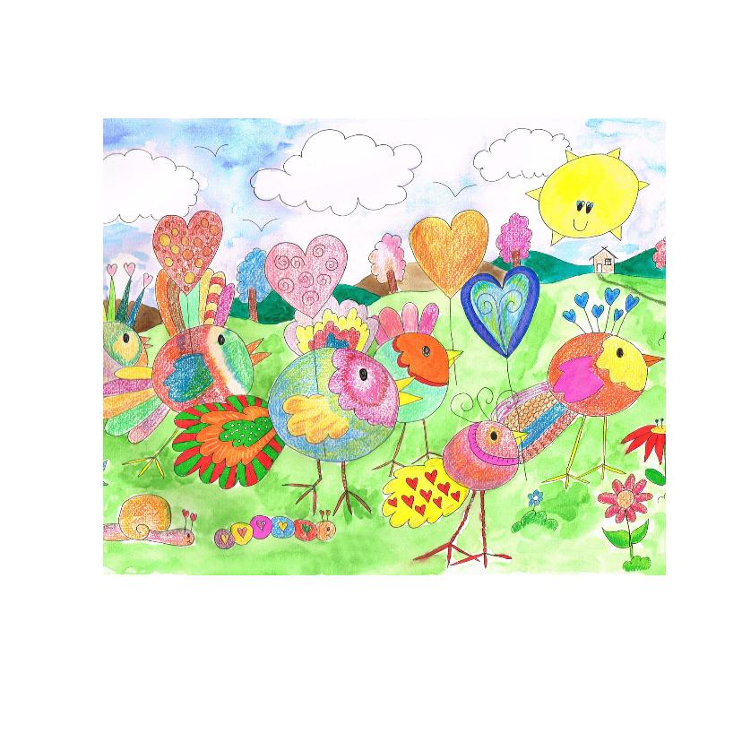 kleurplaatkaart vogel met hartje 2