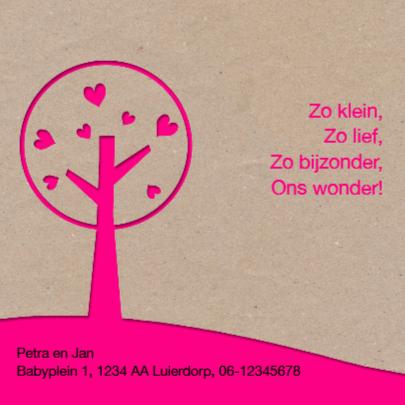 Kraft geboortekaartje roze boom 2