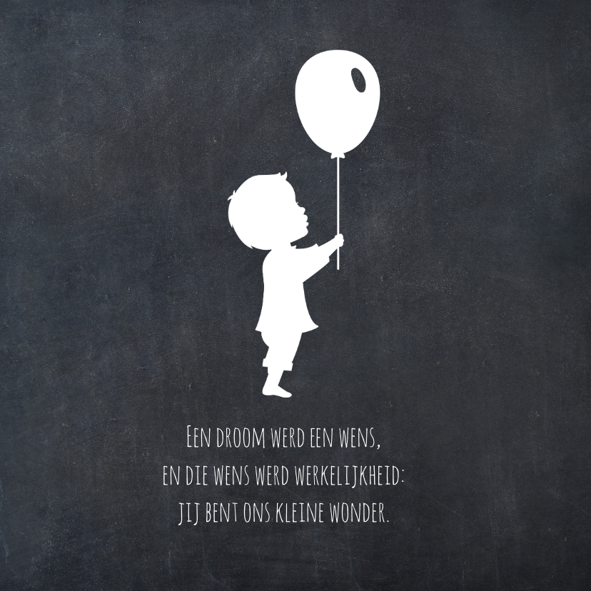 krijtbord Silhouet naam Geboorte 2