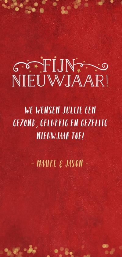 Langwerpige dubbele rode nieuwjaarskaart met gouden sterren 3