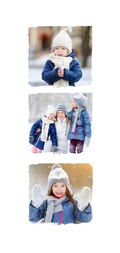 Langwerpige nieuwjaarskaart met fotocollage met 8 fotos 2