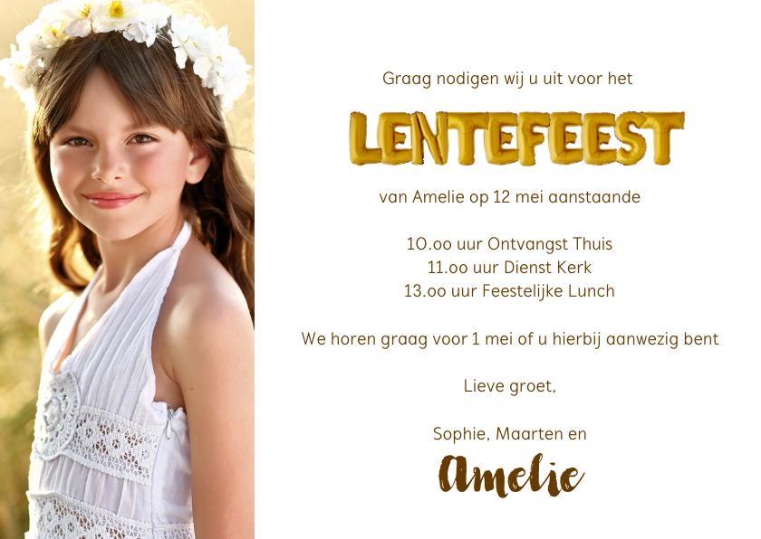 Lentefeest uitnodiging ballonnen goud 3