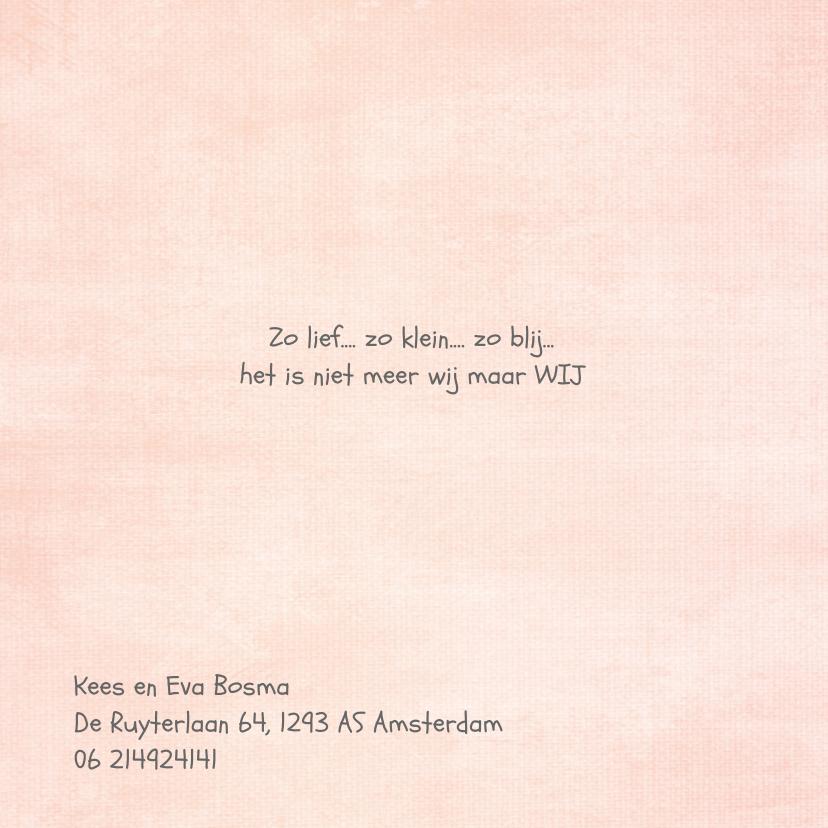 leuk geboortekaartje met lief uiltje en roze achtergrond 2