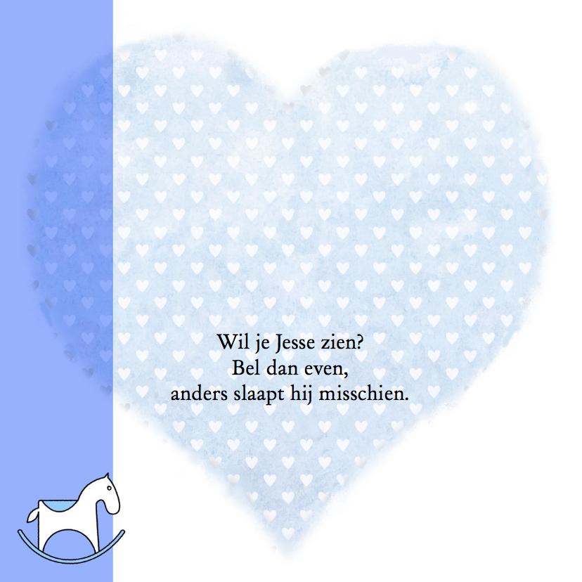 Leuk geboortekaartje stoer jongetje op blauw hart 2