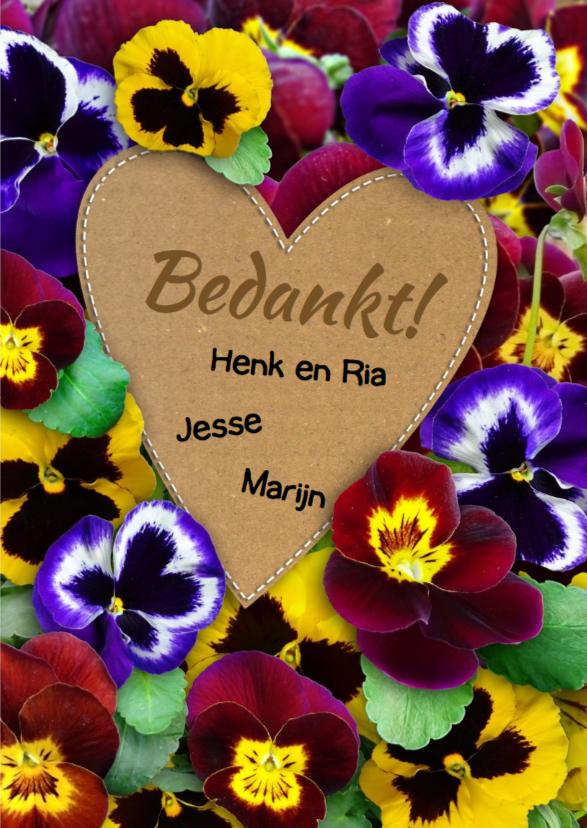 Leuke bedankkaart met kleurige violen en eigen foto 3