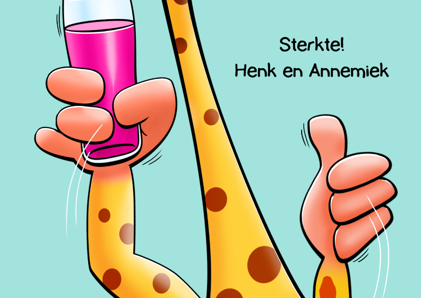 Leuke beterschapskaart met dieren 4 giraffen en 1 beer 3