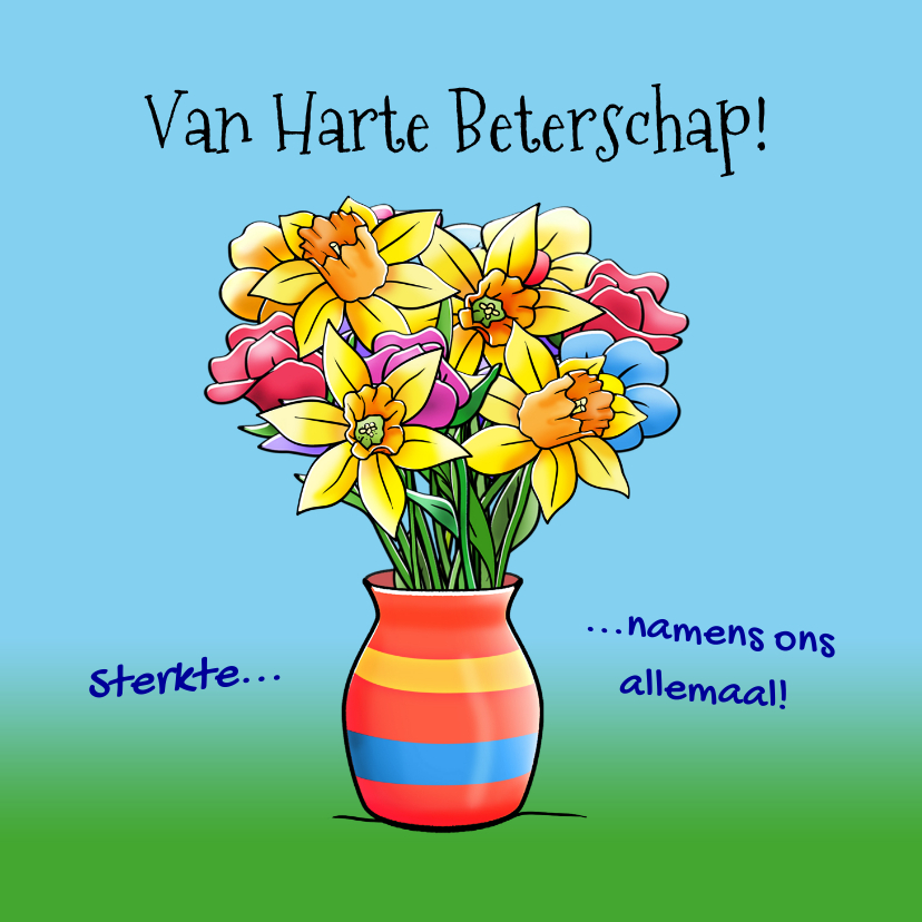 Leuke beterschapskaart opkikkertje met lentebloemen 3