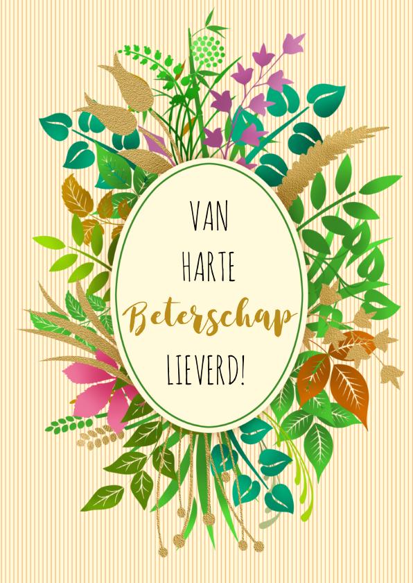 Leuke beterschapskaart tekst in ovaal op takjes en plantjes 3