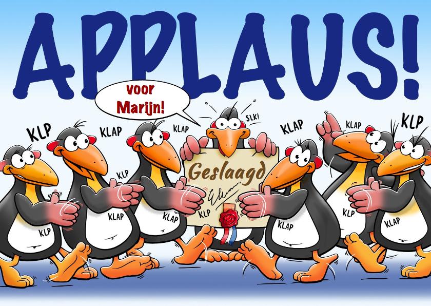 Leuke Geslaagd Kaart Met Pingu 239 Ns En Applaus Geslaagd