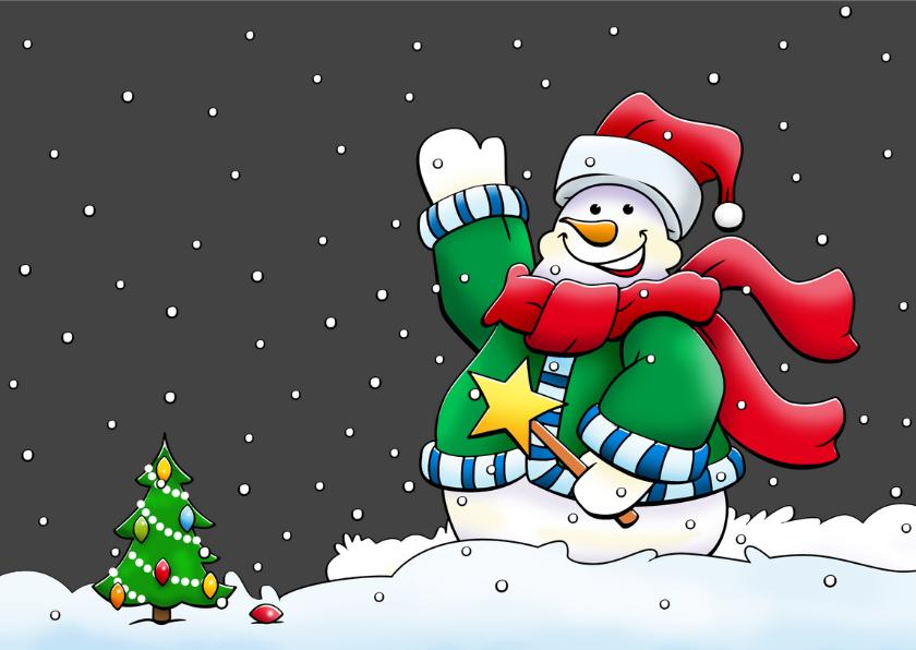 Leuke kerst-verhuiskaart met kerstman in slee en rendieren 3