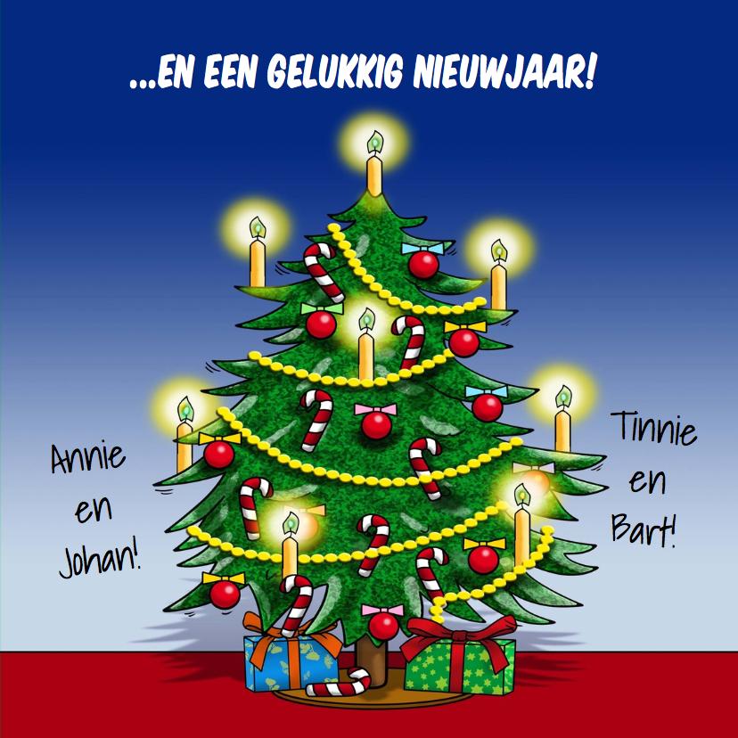 Leuke kerstkaart beestenboel met kerstboom 3
