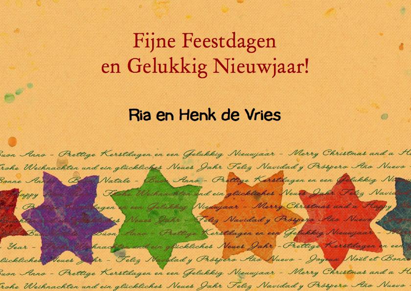 Leuke kerstkaart bomen en teksten in verschillende talen 3