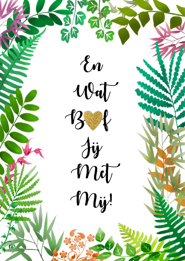 Leuke liefde kaart met blaadjes en hartje in tekst 2