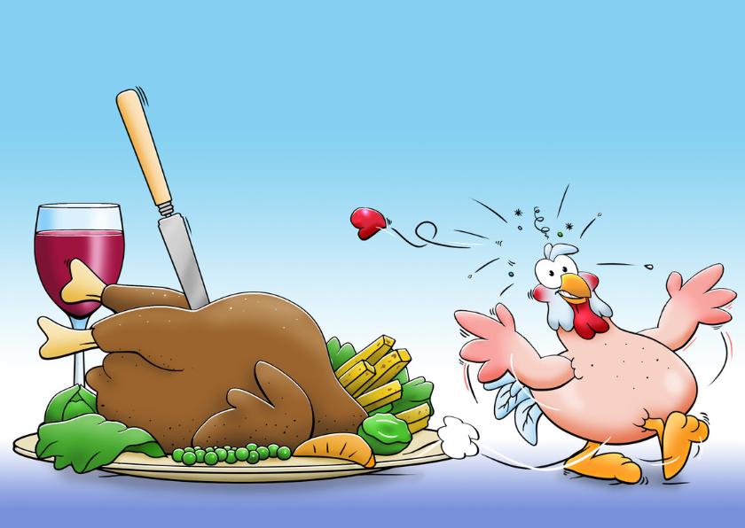 Leuke uitnodiging etentje met kakelende kippen 3