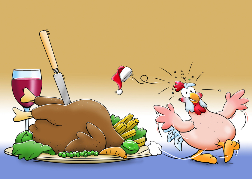 Leuke uitnodiging kerstdiner met kakelende kippen 3