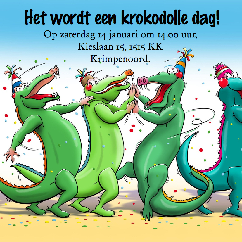 Leuke uitnodiging kinderfeest krokodolle dag met eigen foto 2