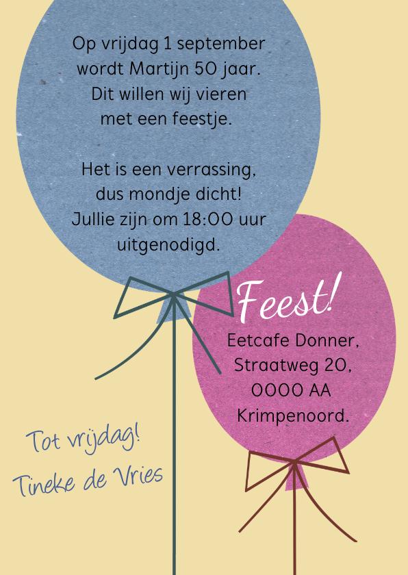 Leuke uitnodiging voor verjaardag met 2 ballonnen 3