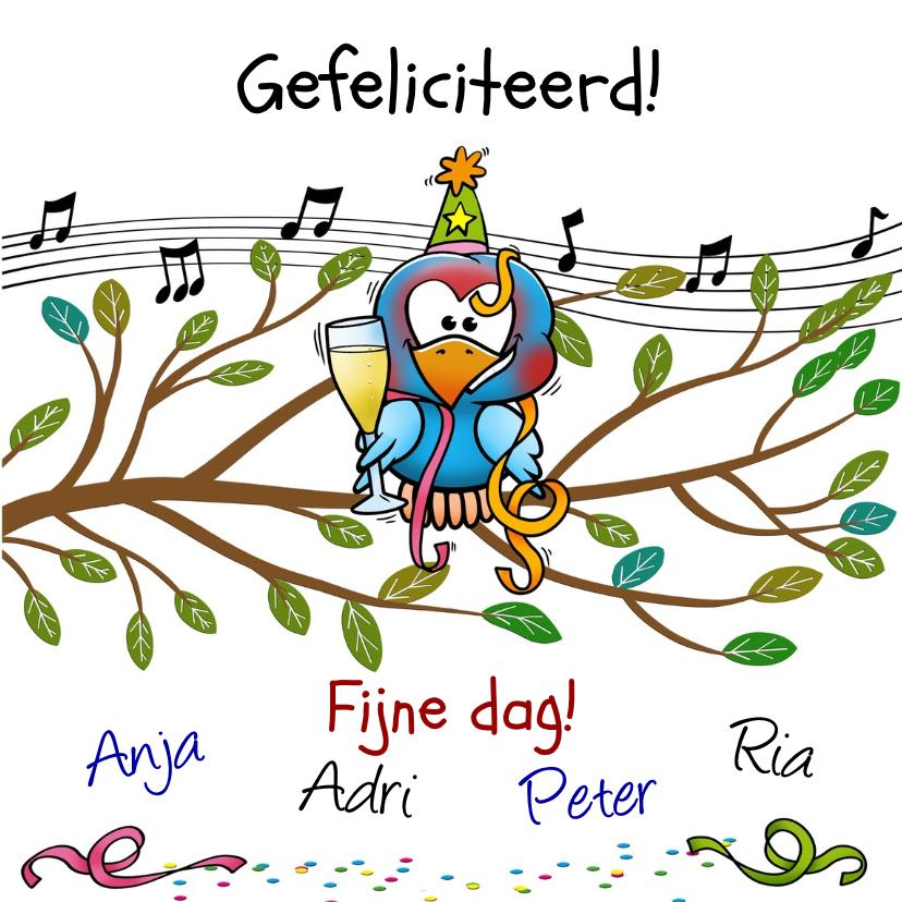 Leuke verjaardag Happy BIRDday vrolijke vogels op tak 3