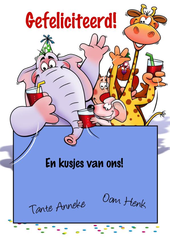 Leuke verjaardagkaart met grappige dieren voor een kind 3