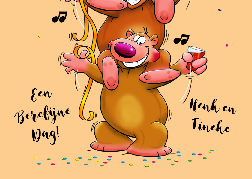 Leuke verjaardagskaart met 3 grappige beren 3