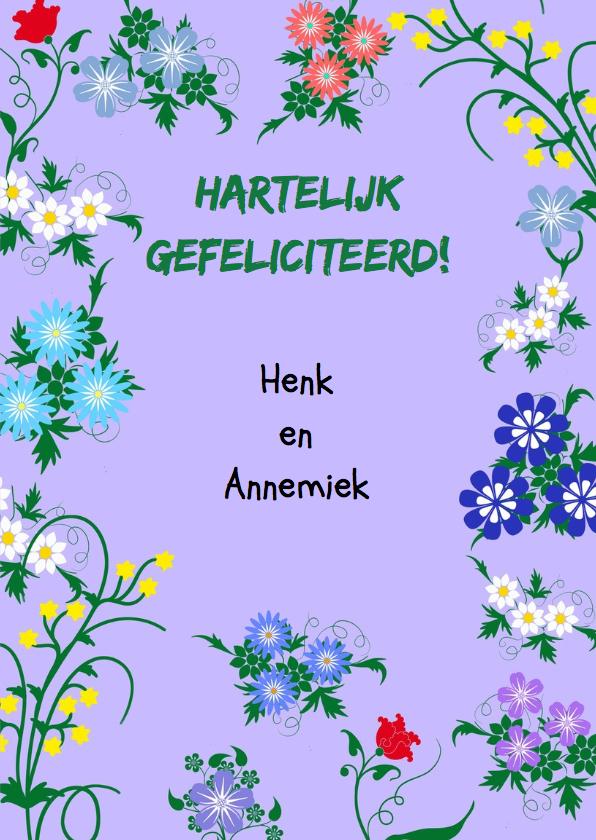 Leuke verjaardagskaart met blauwe wimpel en bloemen 3