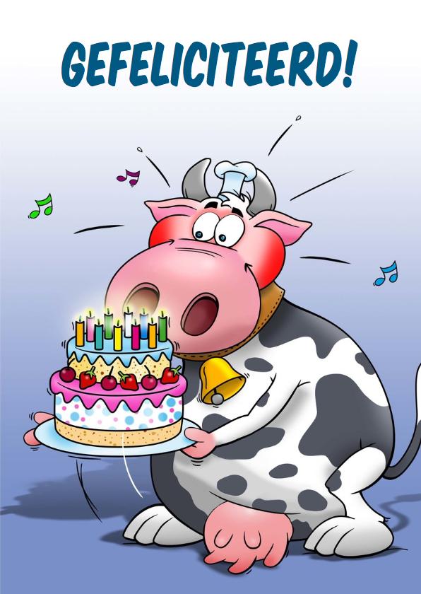 Leuke verjaardagskaart met grappige koe en taart 3