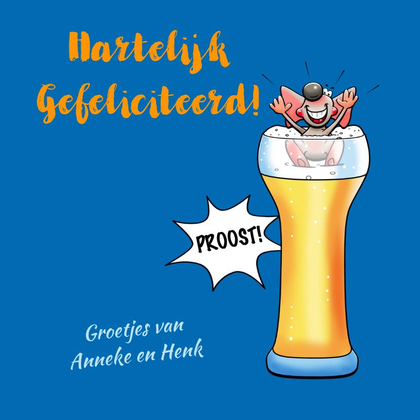 Leuke verjaardagskaart met muis, flesje en glas bier 3