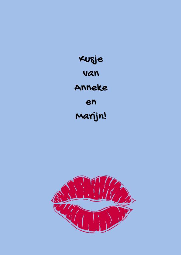 Leuke verjaardagskaart met tekst: KISS en Gefeliciteerd 3