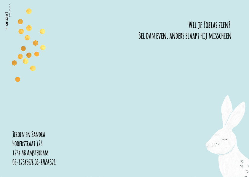 Lief geboortekaartje 'A little piece of heaven' - blauw 2