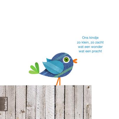 Lief geboortekaartje blauw vogeltje 2