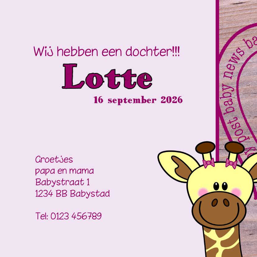 Lief geboortekaartje Giraffe MEISJE 3