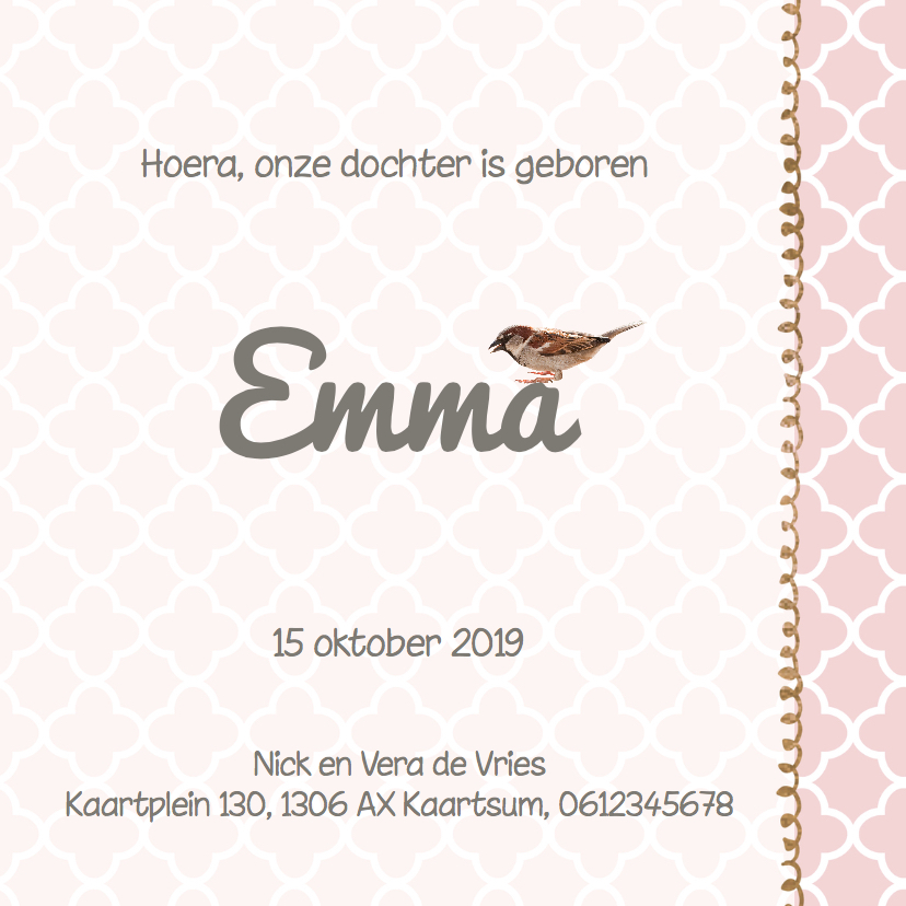 Lief geboortekaartje hout look en roze patroon  3