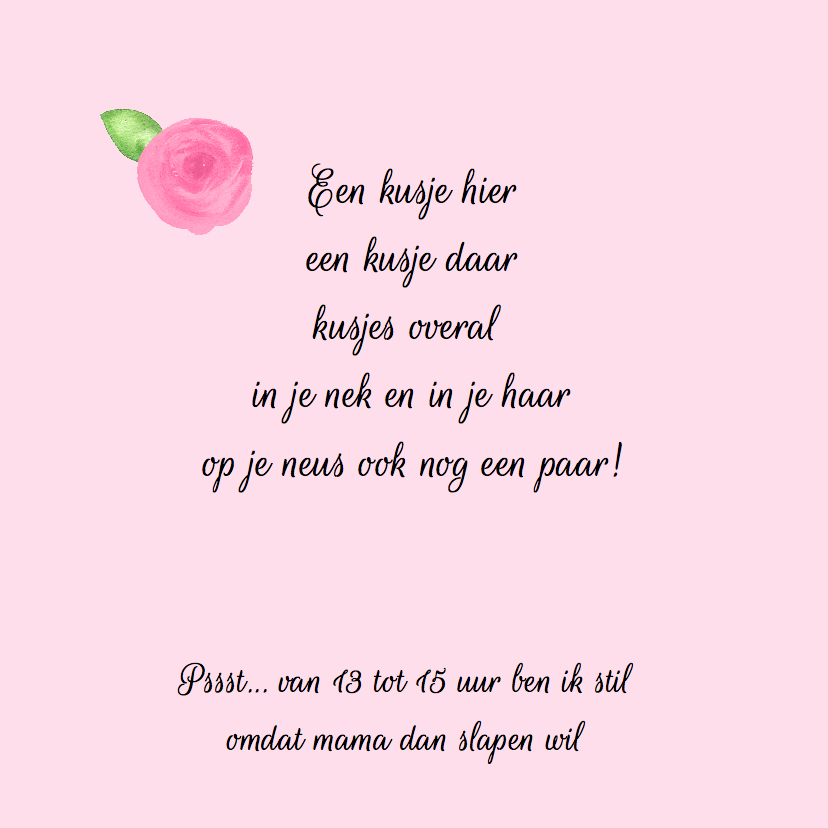 Lief geboortekaartje met roos 2