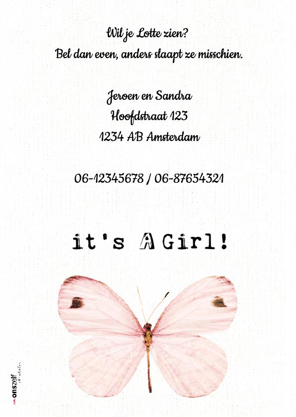Lief geboortekaartje  met roze vlinders - SWEET BUTTERFLY 2