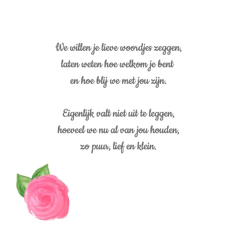 Lief geboortekaartje met rozen 2