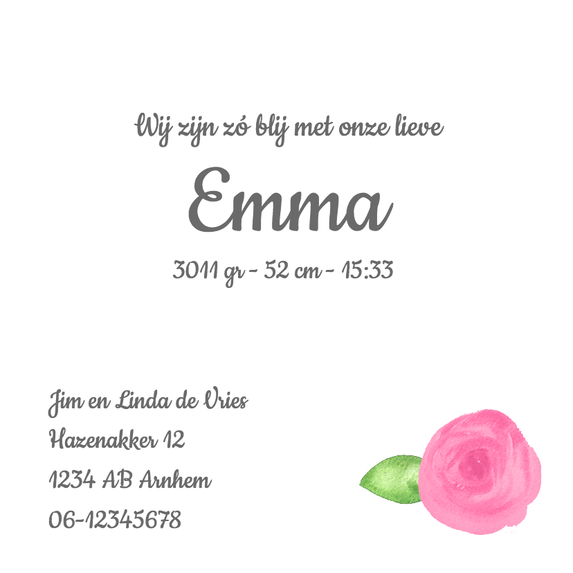 Lief geboortekaartje met rozen 3