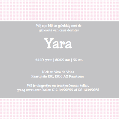 Lief geboortekaartje met strikje - Yara 3
