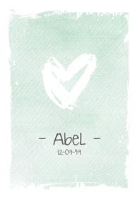 Geboortekaartjes - Lief geboortekaartje met watercolour achtergrond