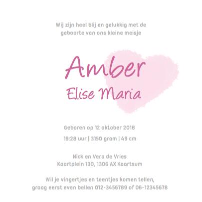 Lief geboortekaartje Roze Hartjes 3