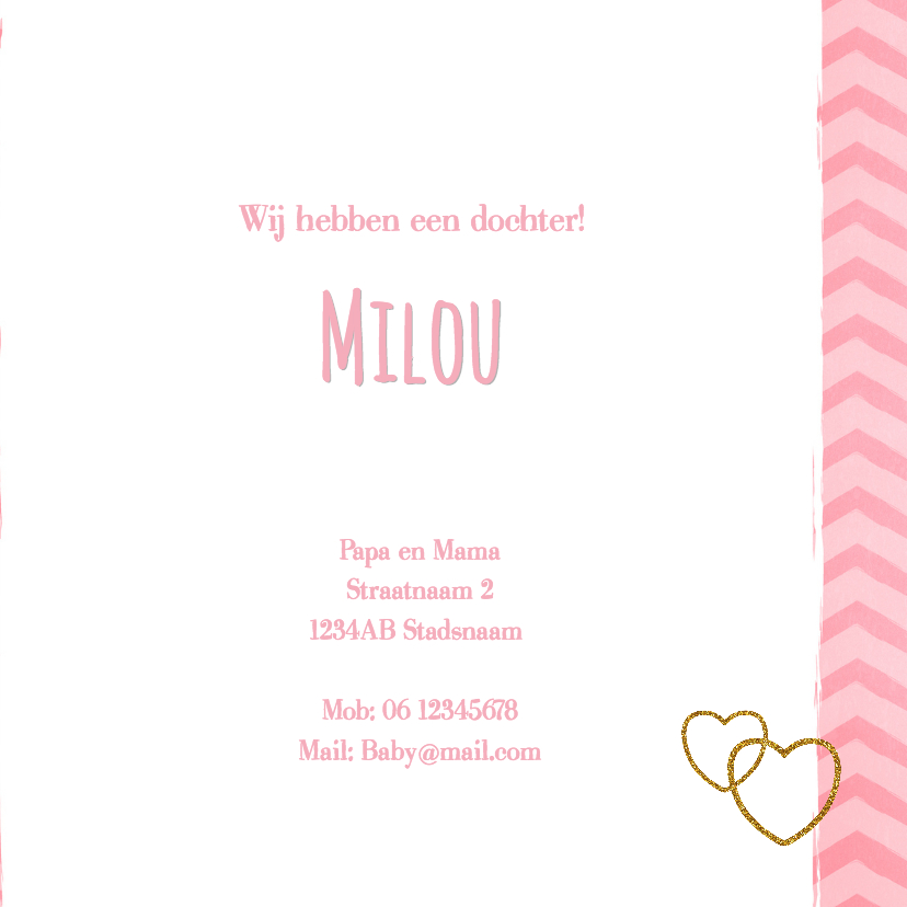 Lief hip roze zigzag streep geboortekaartje foto 3
